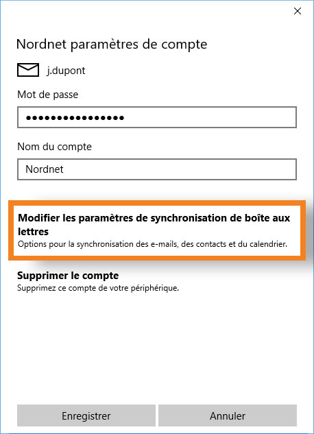installez la synchronisation du serveur de messagerie ds
