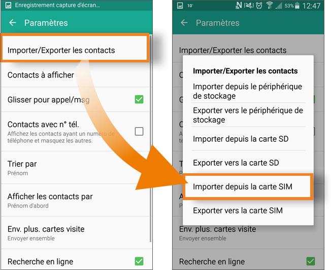 Choisissez Importer Exporter Les Contacts Depuis La Carte SIM