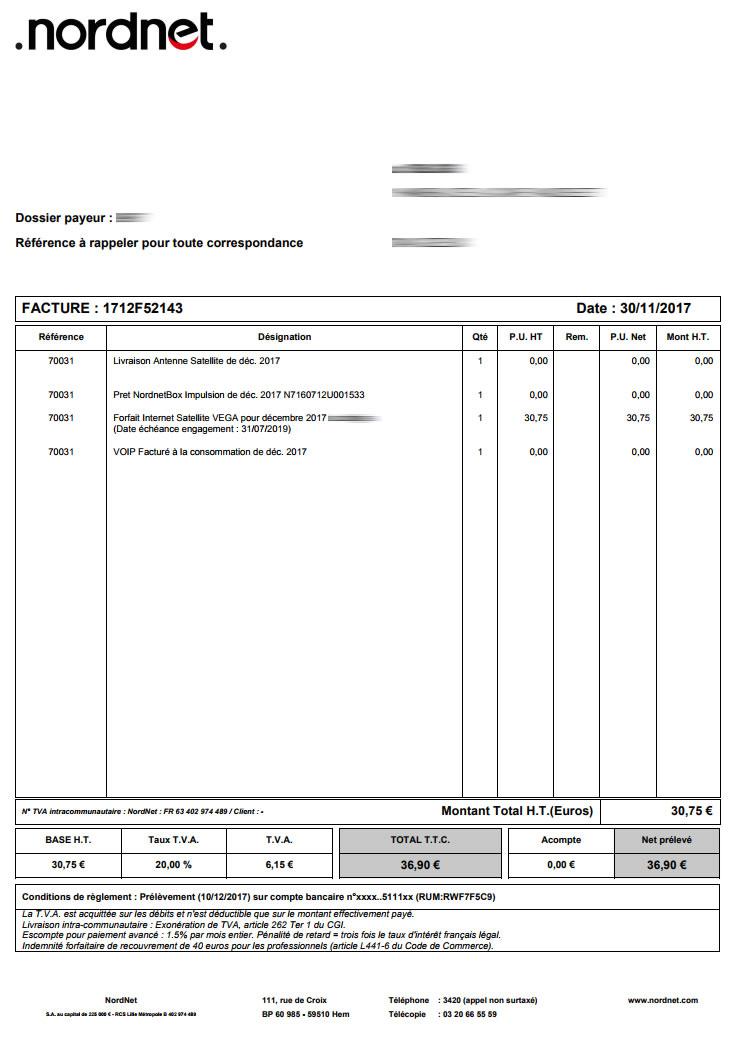 assistance nordnet consulter votre facture pour une connexion