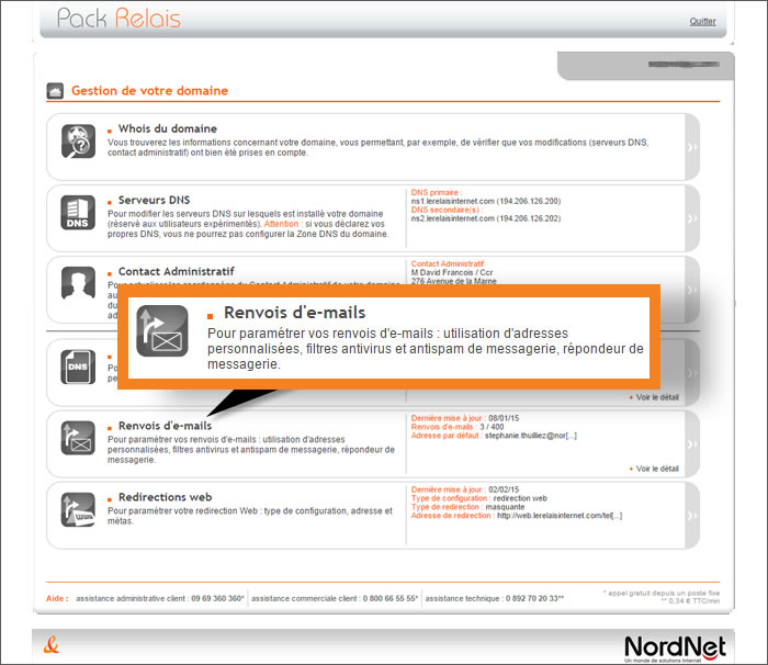 Assistance nordnet cr er une adresse e mail avec votre - Bureau d enregistrement nom de domaine ...